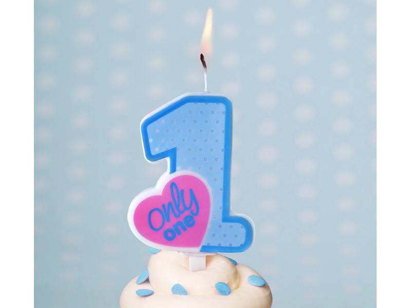 Świeczka urodzinowa Only One, błękitna