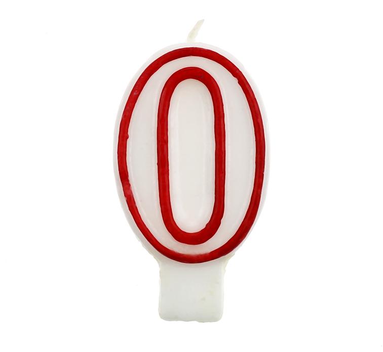 """Świeczka cyferka """"0"""", czerwony kontur 7 cm"""