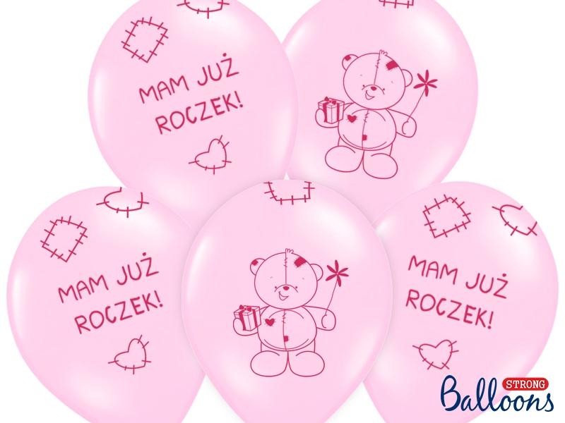 """Balony urodzinowe na Roczek dla dziewczynki """"1""""""""Miś - mam już roczek"""" / SB14P-221-081J/6"""