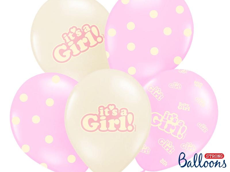 """Balony na Narodziny dziecka lateksowe  """"It`s a Girl"""" / SB14P-252-000/6"""