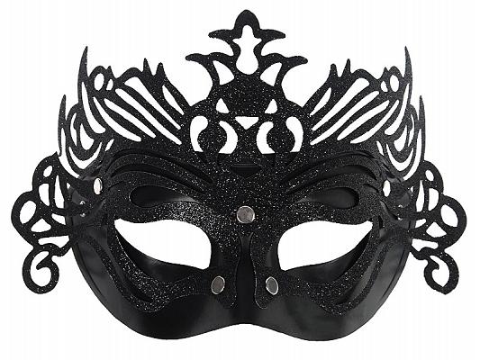 Maska karnawałowa Wenecka czarna z ornamentem