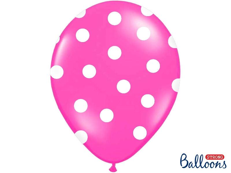 """Balony lateksowe z nadrukiem """"Kropki"""", różowe / 30 cm SB14P-223-006W/6"""