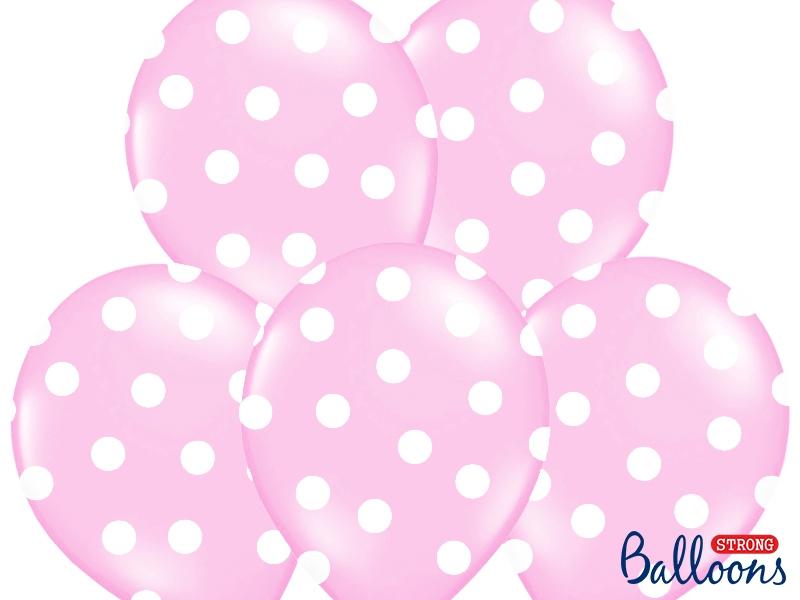 Balony lateksowe pudrowy róż w białe Kropki / SB14P-223-081JW/6