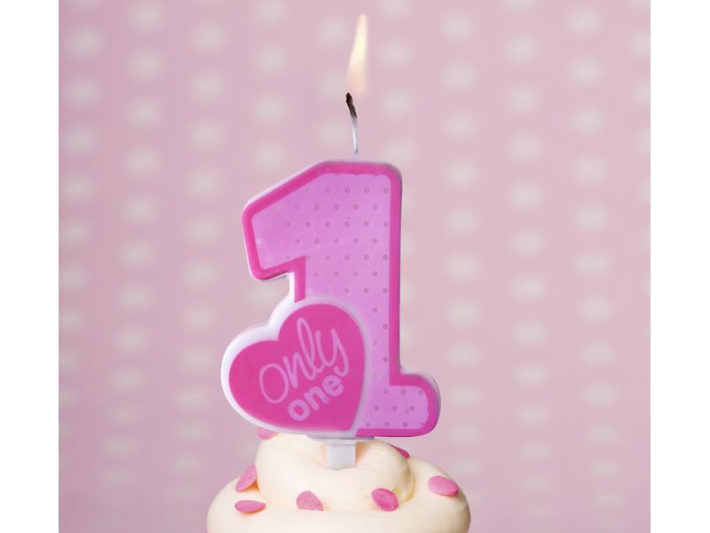 Świeczka urodzinowa Only One, różowa