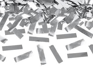 Tuba wystrzałowa konfetti - metalizowane, srebrne konfetti / 60 cm