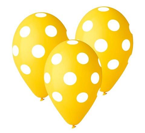 "Balony Premium ""Grochy"", żółte, 12"""
