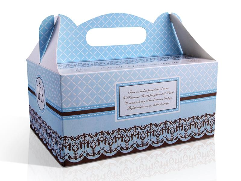 Ozdobne pudełka na ciasto komunijne / PUDCS6/B