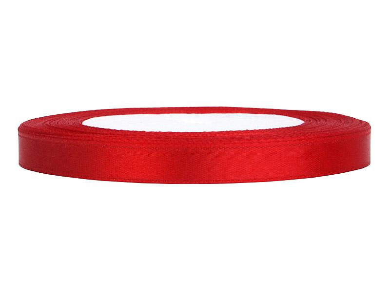 Tasiemka satynowa, czerwona / 6 mm