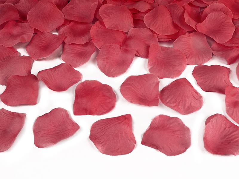 Wystrzałowa tuba konfetti - bordowe płatki róż / 60 cm