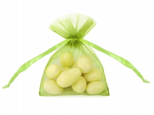 """Woreczki z organzy, """"zielone jabłuszko"""" / 7,5x10 cm"""
