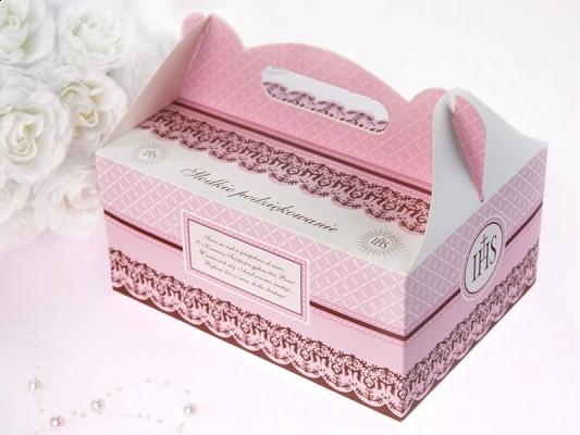 Ozdobne pudełka na ciasto komunijne / 19x14x9 cm PUDCS6R