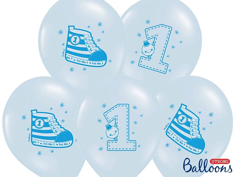 """Balony urodzinowe na Roczek dla chłopca """"Trampek - cyferka 1"""" / SB14P-222-011/6"""