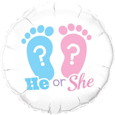 """Balon na Narodziny dziecka  foliowy 18"""" """"He or She"""""""