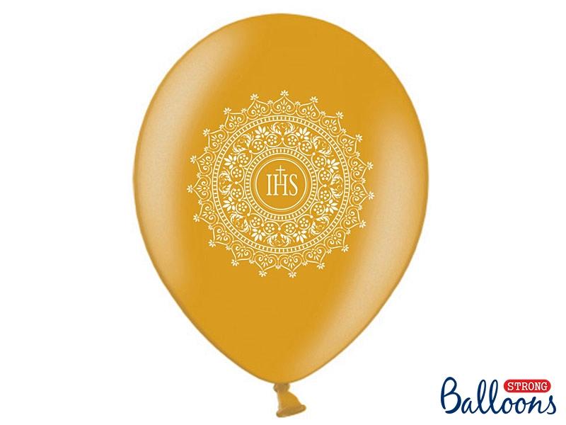 Balony Komunijne lateksowe I Komunia Święta, IHS-Metalic Gold
