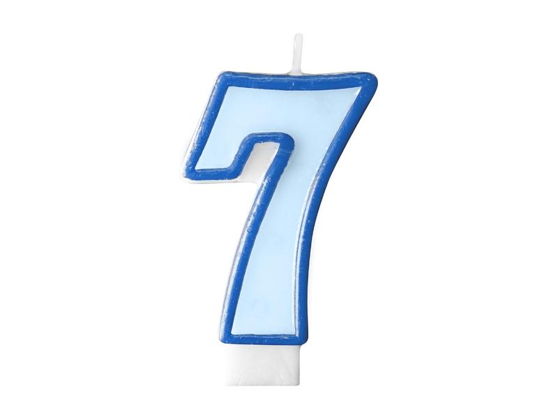 Świeczka urodzinowa Cyferka 7, niebieska