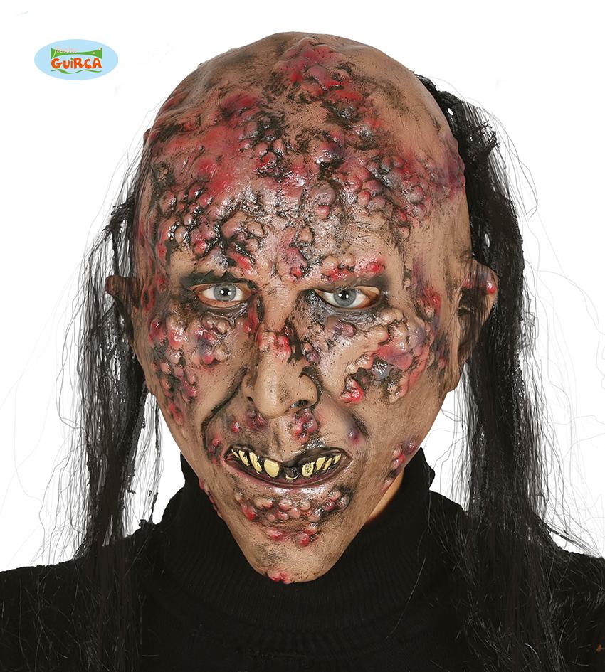 """Maska na Halloween """"Zainfekowane Zombi"""" z włosami / 2402"""
