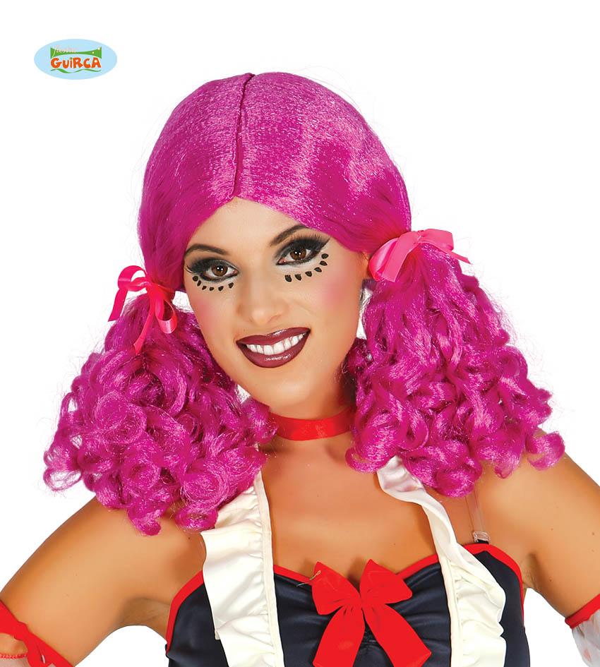 """Damska peruka różowa """"Kitki ze wstążkami"""" / 4021"""