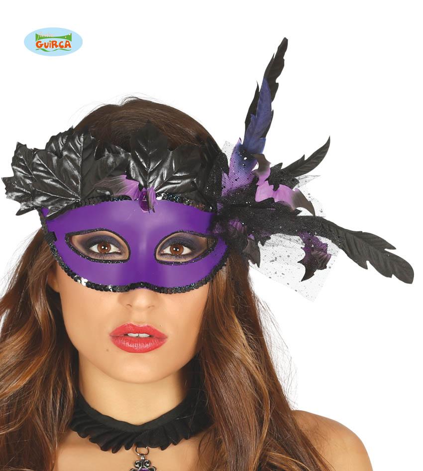 Maska karnawałowa Wenecka fioletowa z piórami / 26143