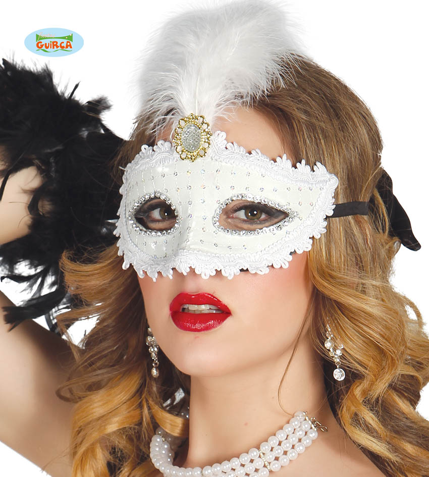 Maska karnawałowa Wenecka biała z piórkiem / 12703
