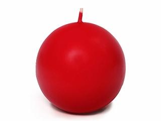 Czerwona świeca kula, matowa / 8 cm