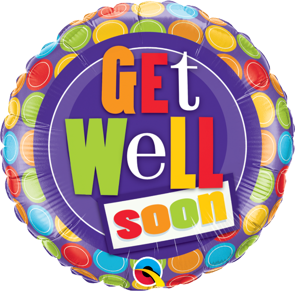 "Balon foliowy 18"" ""Get Well Dot"""