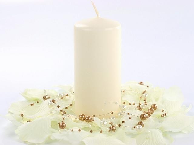 Ecru świeca walec, matowa / 12x6 cm