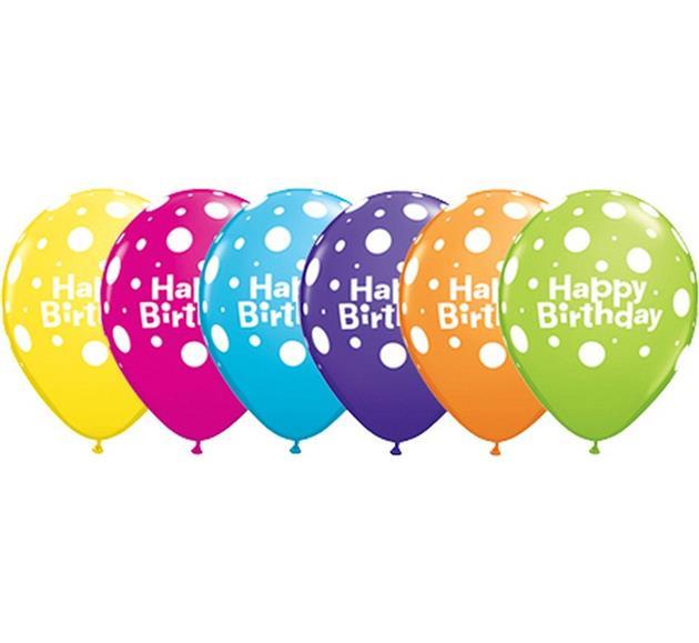 """Balony urodzinowe z napisem """"Happy Birthday w grochy"""""""