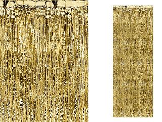 Dekoracja - foliowa kurtyna na drzwi - fotościanka Party, złota / 90 x 250cm