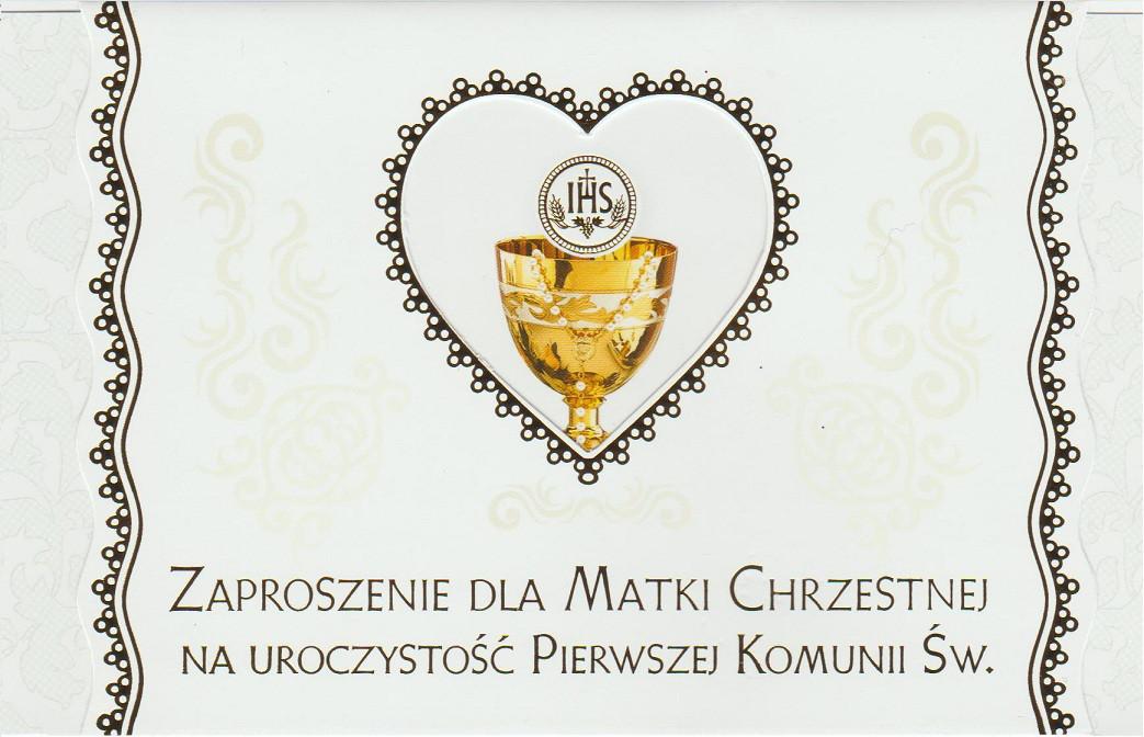 Zaproszenia komunijne dla Matki Chrzestnej I Komunia Święta / ZS_KOM_26568
