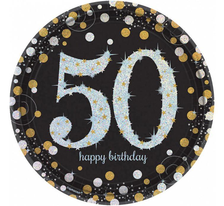 """Talerzyki papierowe """"50 urodziny"""" Sparkling Celebration"""" / 23 cm"""