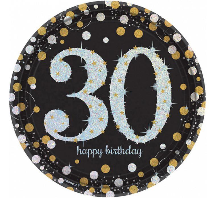 """Talerzyki papierowe """"30 urodziny"""" Sparkling Celebration"""" / 23 cm"""
