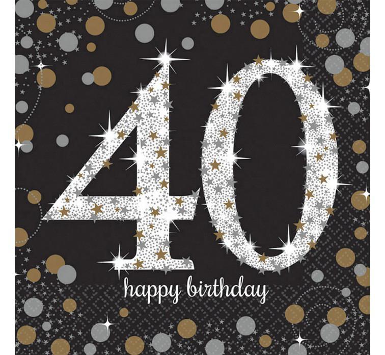 """Serwetki papierowe """"40 urodziny"""" Sparkling Celebration"""" / 33x33 cm"""