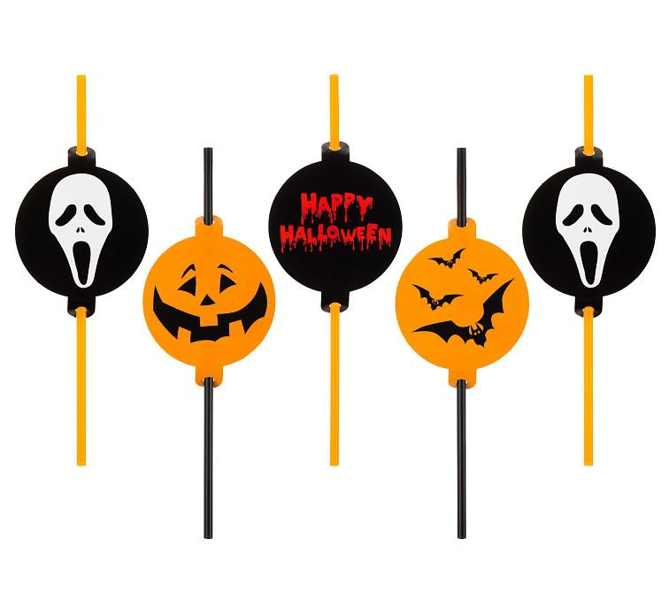"""Słomki plastikowe z medalionem """"Halloween"""""""
