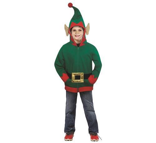 """Strój dla dzieci """"Elf"""" (bluza z kapturem, pasek), rozm 8-10 lat"""