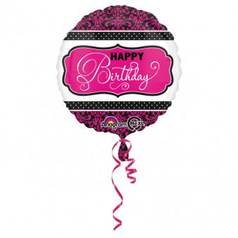 """Balon foliowy okrągły """"Happy Birthday"""" czarno-różowy, 43 cm"""