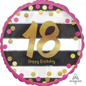 """Balon na urodziny foliowy na """"18 urodziny"""" / 3716001"""