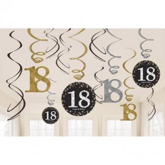 Dekoracyjne sprężynki na 18 urodziny, złote-srebrne