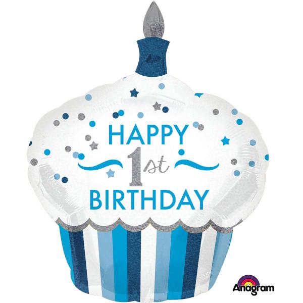"""Balon foliowy niebieska Babeczka """"Happy 1st birthday"""" / 73x 91 cm"""
