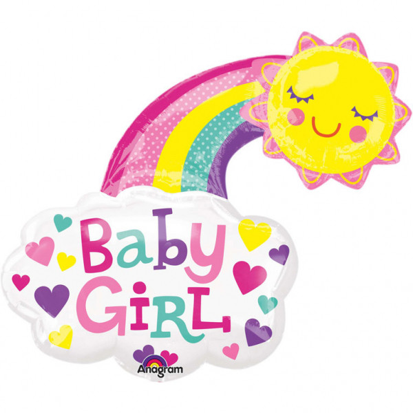 """Balon na Narodziny dziecka foliowy Tęcza """"Baby Girl"""" / 76x76 cm"""