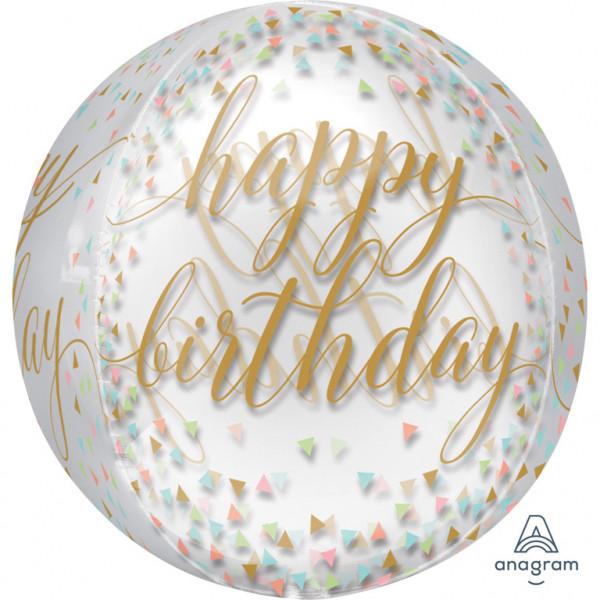 "Balon foliowy Orbz - Kula ""Happy Birthday"" konfetti / 38x40 cm"