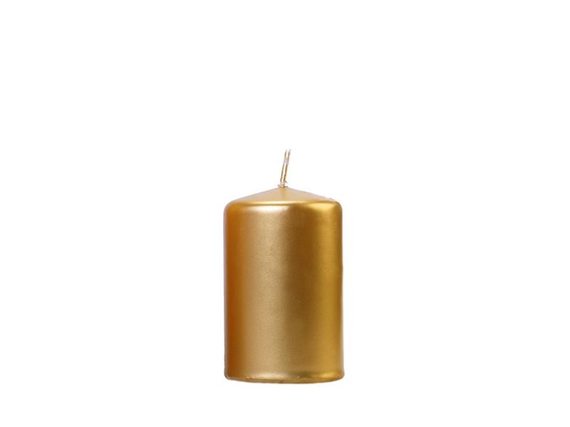 Złota świeca walec, metalizowana / 10x6,5 cm