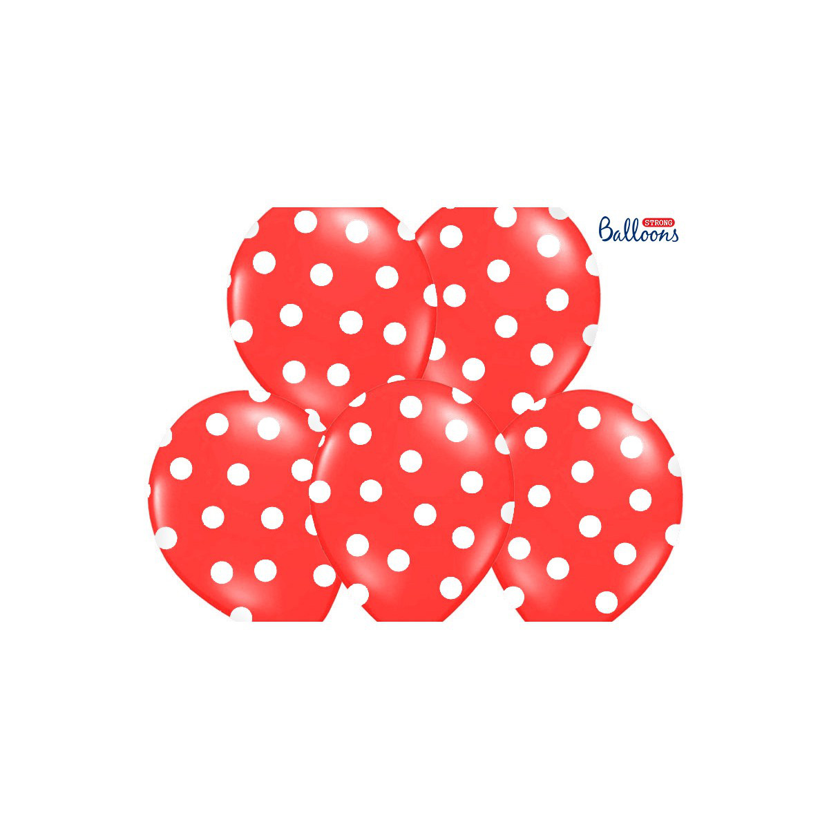 """Balony lateksowe z nadrukiem """"Kropki"""", czerwone / 30 cm SB14P-223-007JW/6"""