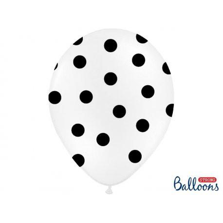 """Balony lateksowe z nadrukiem """"Kropki"""", białe / 30 cm SB14P-223-008B/6"""