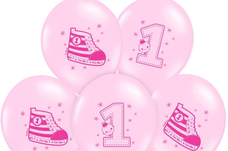 """Balony urodzinowe na Roczek dla dziewczynki """"Trampek - cyferka 1"""" / SB14P-222-081J/6"""