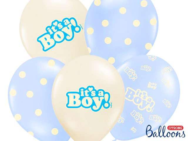 """Balony na Narodziny dziecka lateksowe """"It`s a Boy"""" / SB14P-251-000/6"""