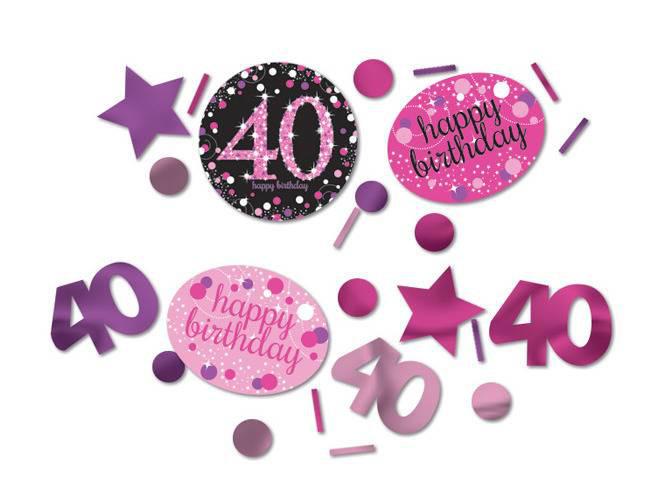 """Konfetti """"40 urodziny"""" Sparkling Celebration, różowe"""