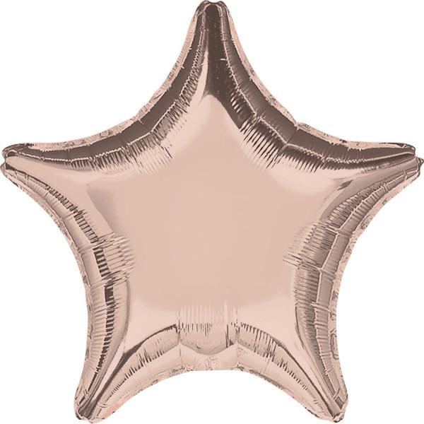 Balon foliowy metalizowany - Gwiazda różowe złoto / 48 cm