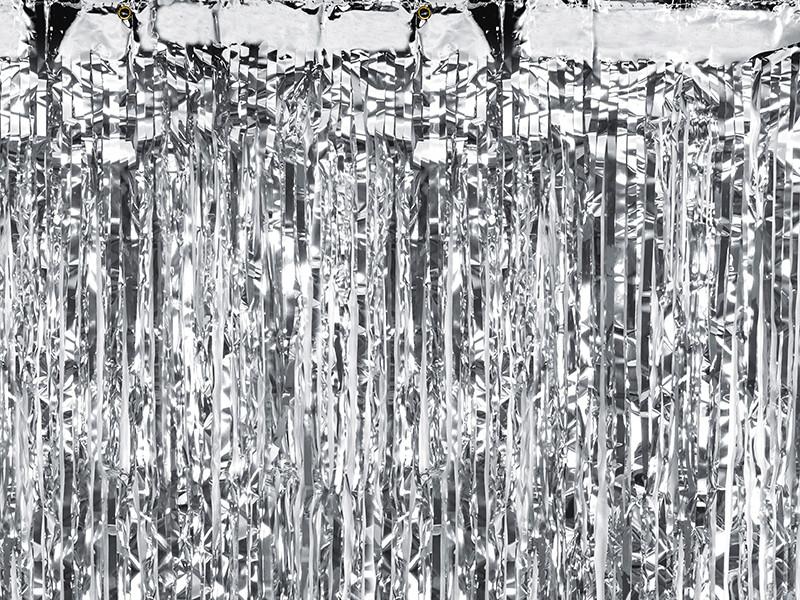 Dekoracja - foliowa kurtyna na drzwi - fotościanka Kurtyna Party, srebrna / 90x250cm