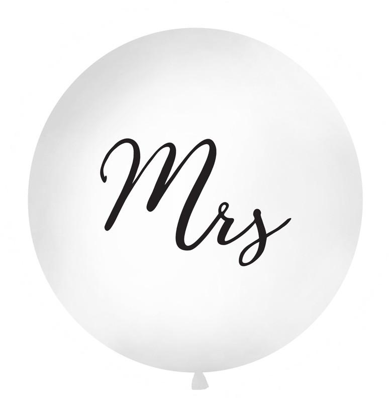 """Balon lateksowy OLBO - biały z czarnym napisem """"Mrs"""" / średnica 1m"""