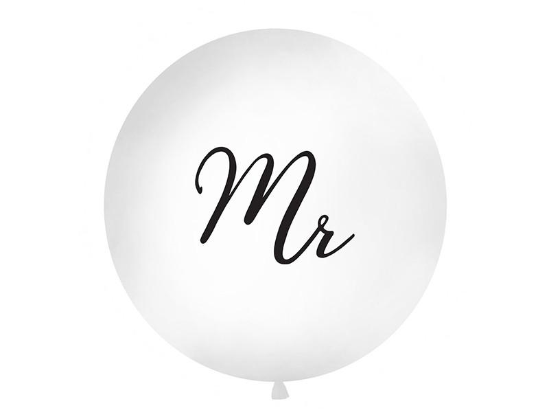 """Balon lateksowy OLBO - biały z czarnym napisem """"Mr"""" / średnica 1m"""